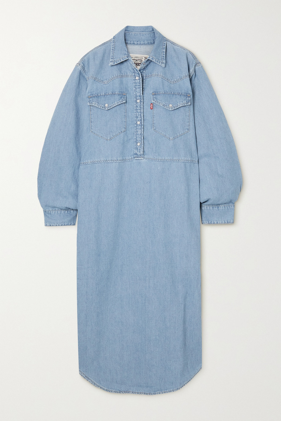 GANNI + Levi's oversized cotton and hemp-blend denim midi shirt dress