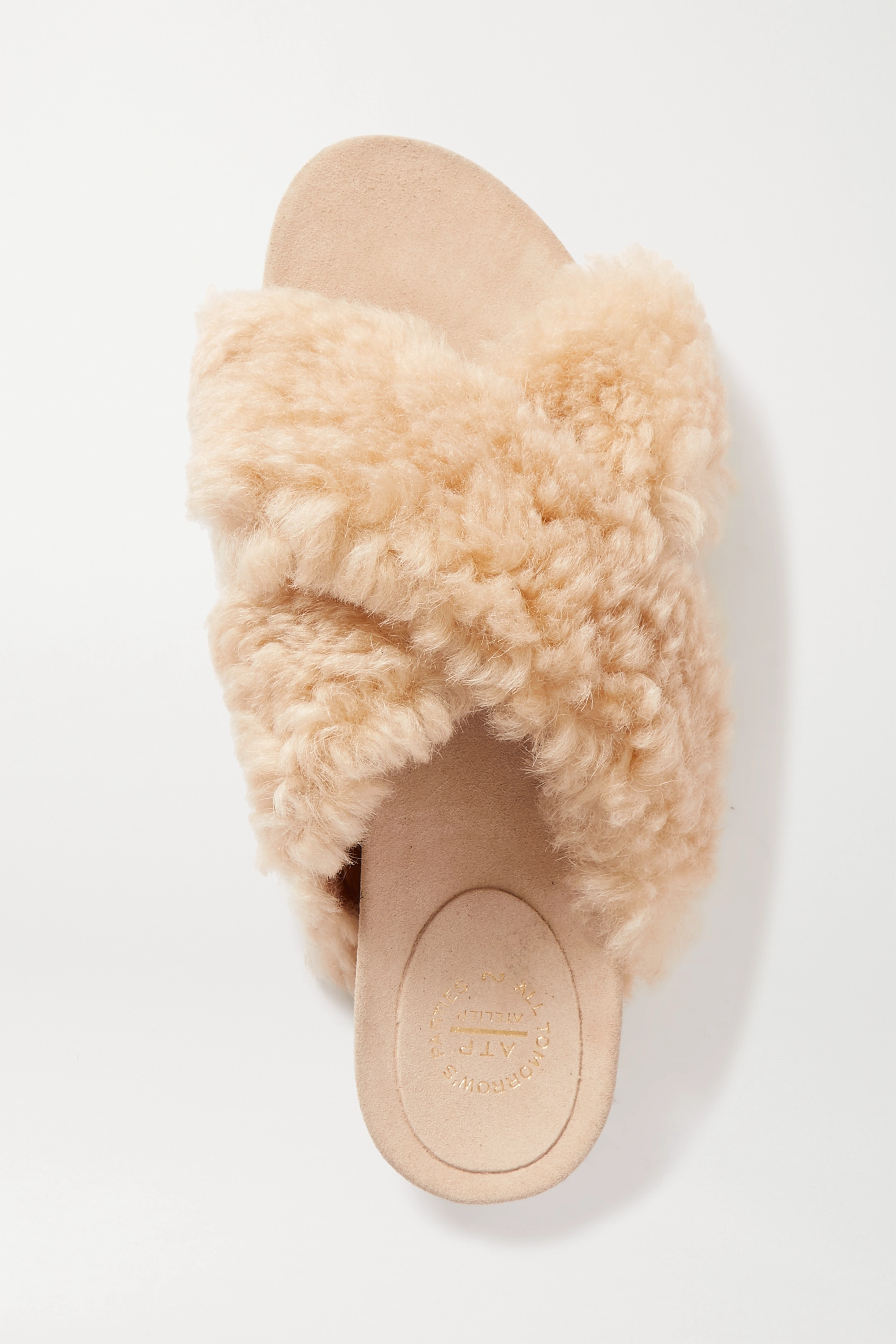 ATP Atelier Doris shearling and suede slides