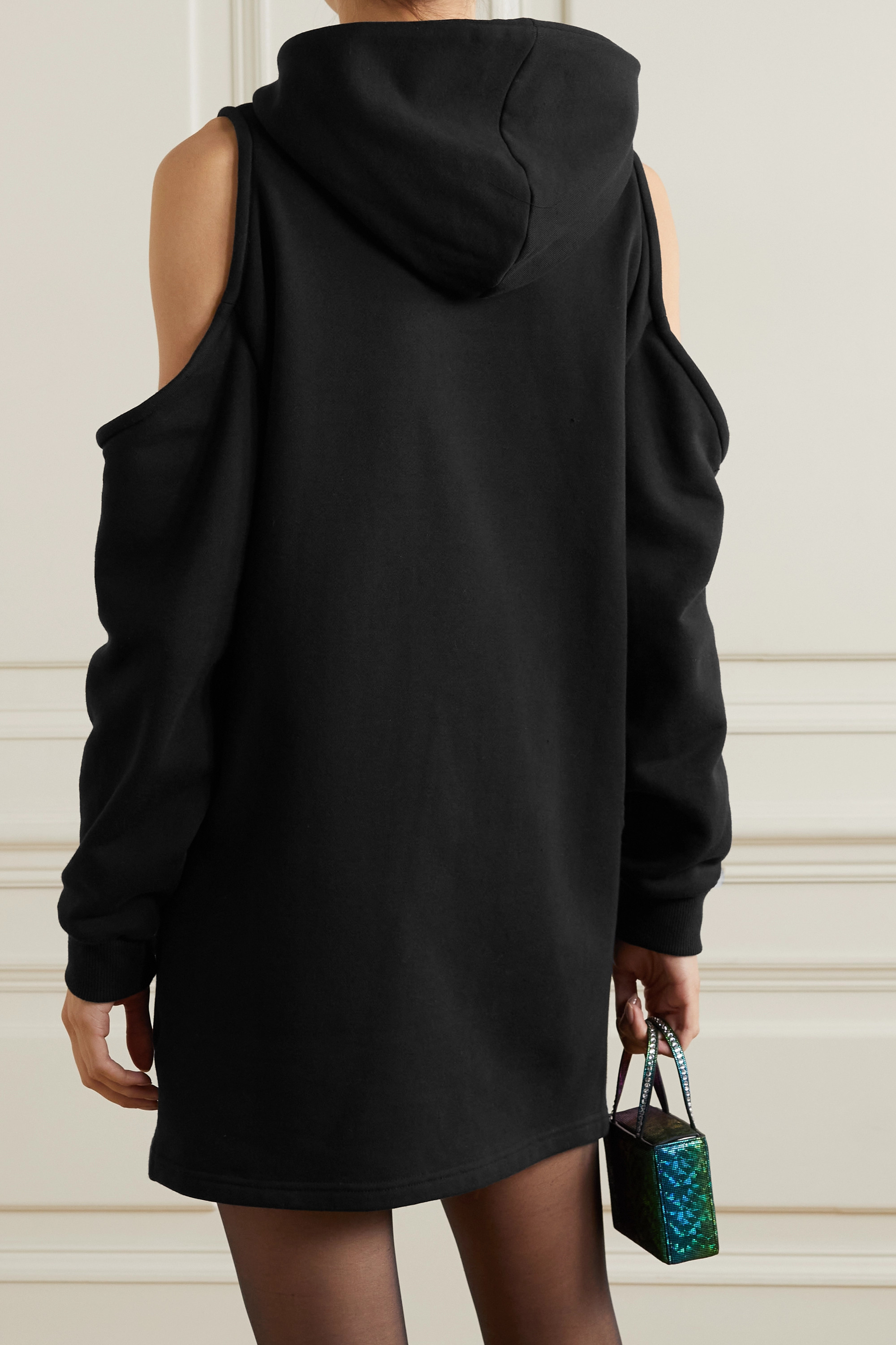 AREA Cottons HOODED COLD-SHOULDER EMBELLISHED COTTON-JERSEY MINI DRESS