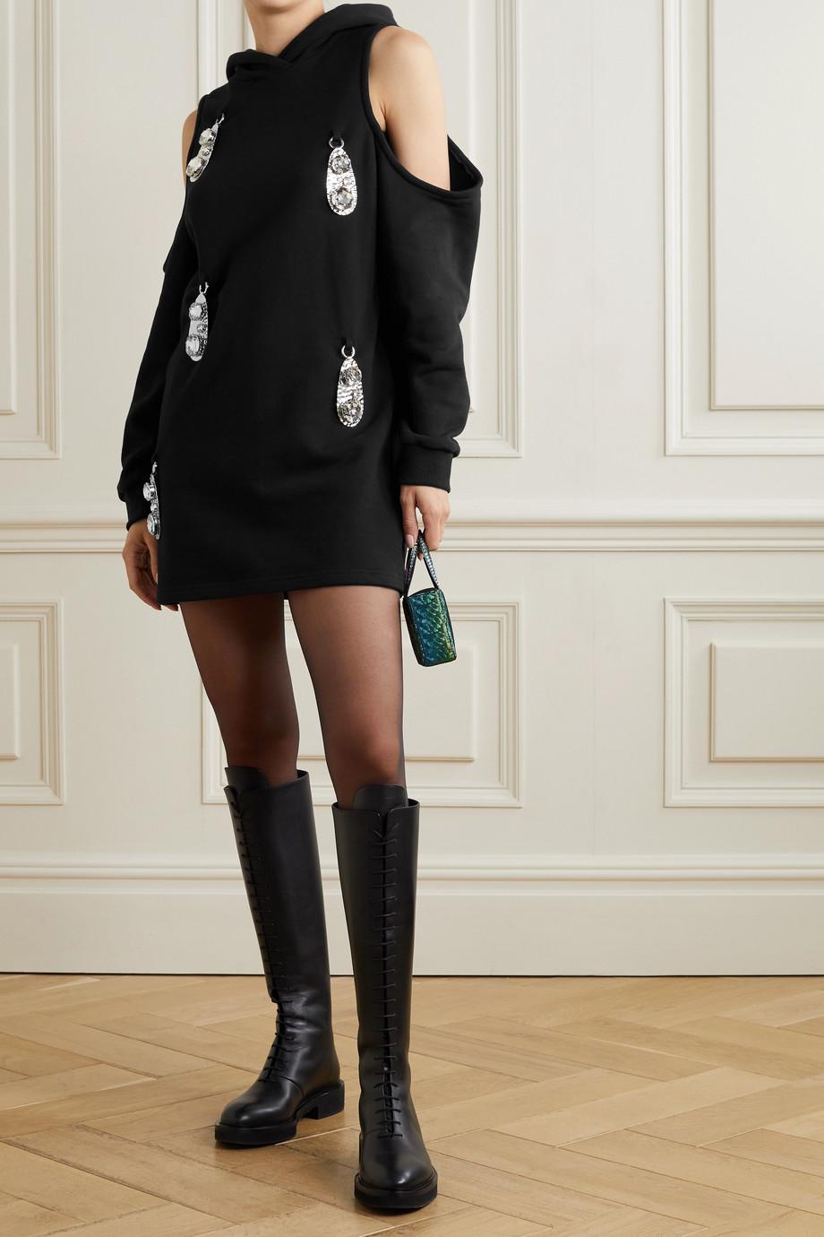 AREA Hooded cold-shoulder embellished cotton-jersey mini dress