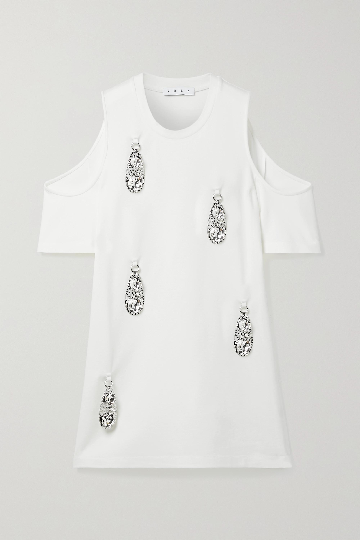 Area Dresses COLD-SHOULDER EMBELLISHED STRETCH-JERSEY MINI DRESS