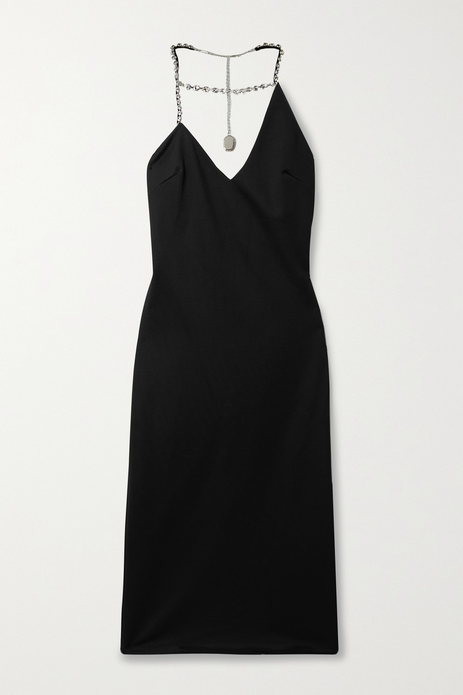AREA Asymmetric crystal-embellished stretch-piqué halterneck midi dress