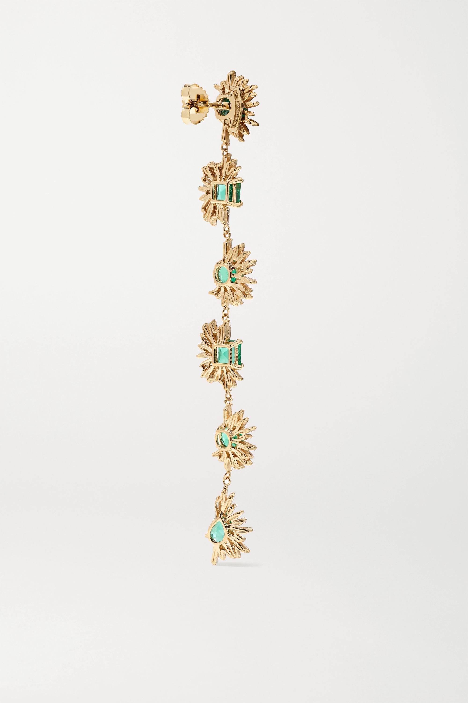 Suzanne Kalan 18-karat gold, emerald and diamond earrings