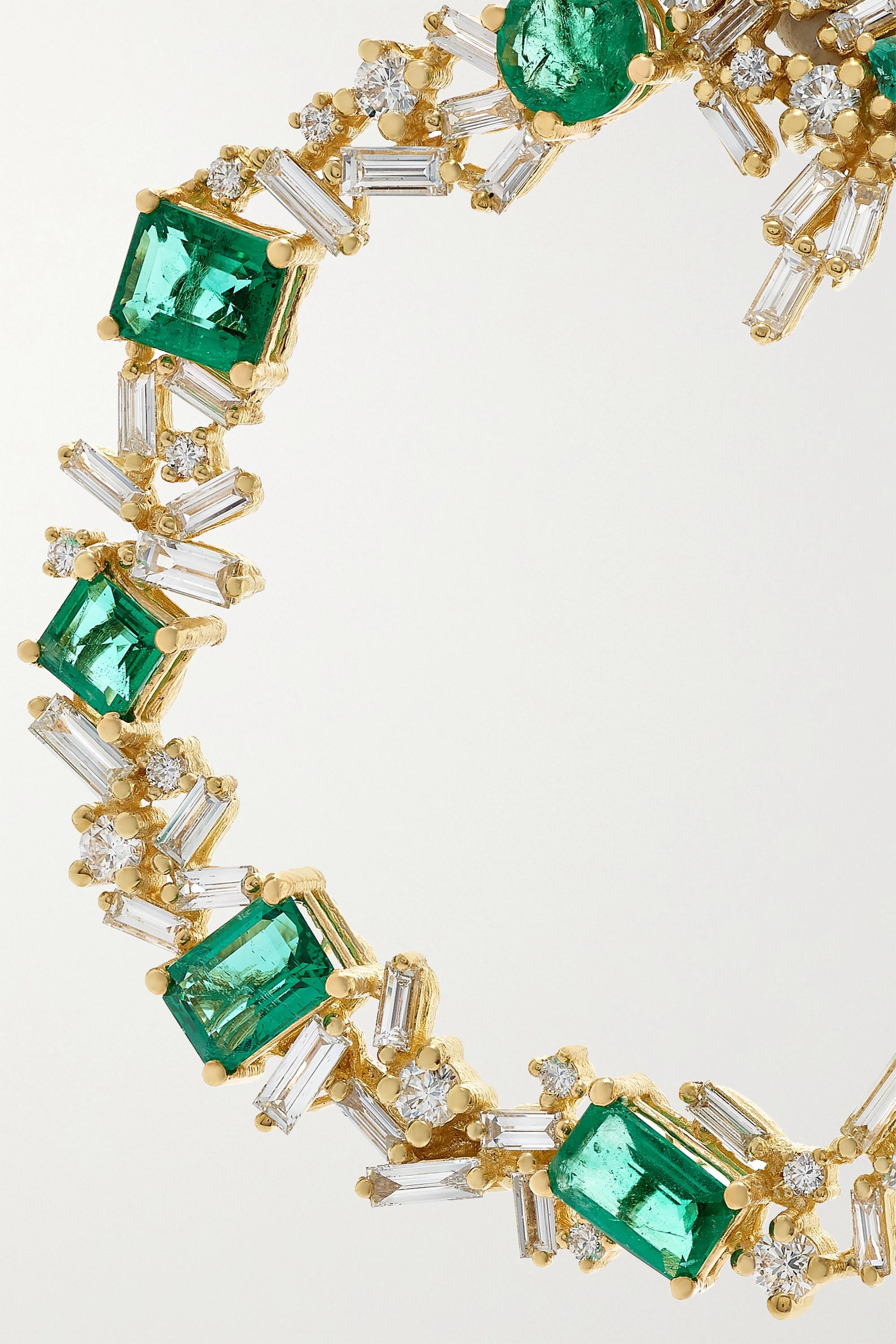 Suzanne Kalan Ohrringe aus 18Karat Gold mit Smaragden und Diamanten