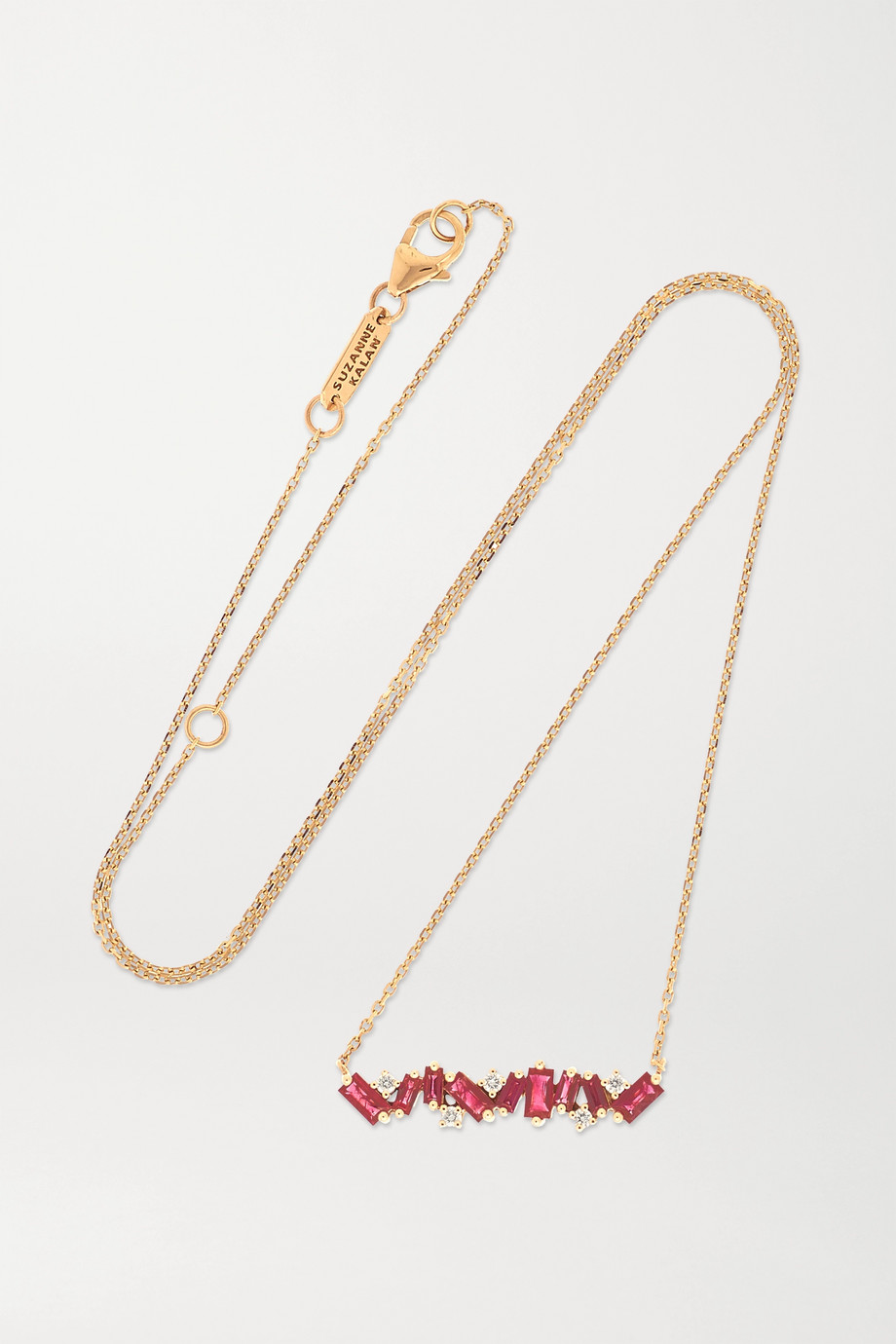 Suzanne Kalan 18K 玫瑰金、红宝石、钻石项链