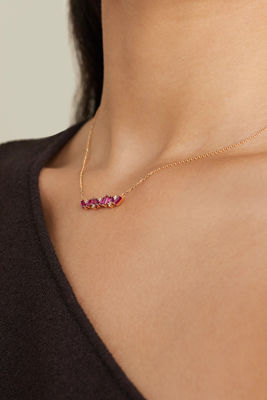 Suzanne Kalan 18-karat rose gold, ruby and diamond necklace