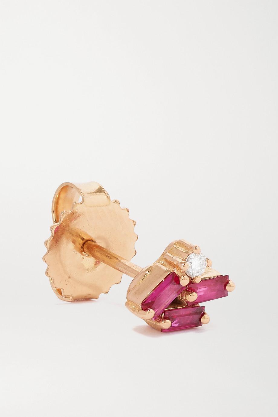 Suzanne Kalan 18-karat rose gold, ruby and diamond earrings