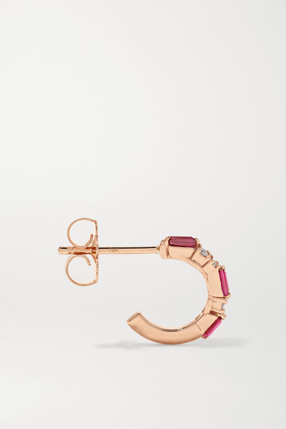 Suzanne Kalan Boucles d'oreilles en or rose 18 carats, rubis et diamants