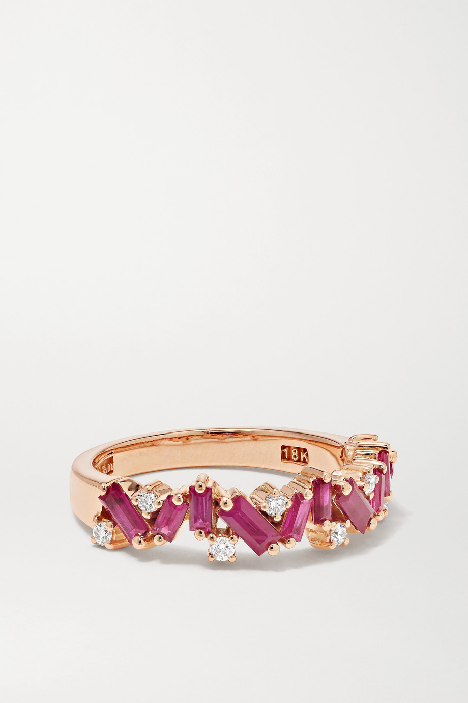Suzanne Kalan Ring aus 18 Karat Roségold mit Rubinen und Diamanten