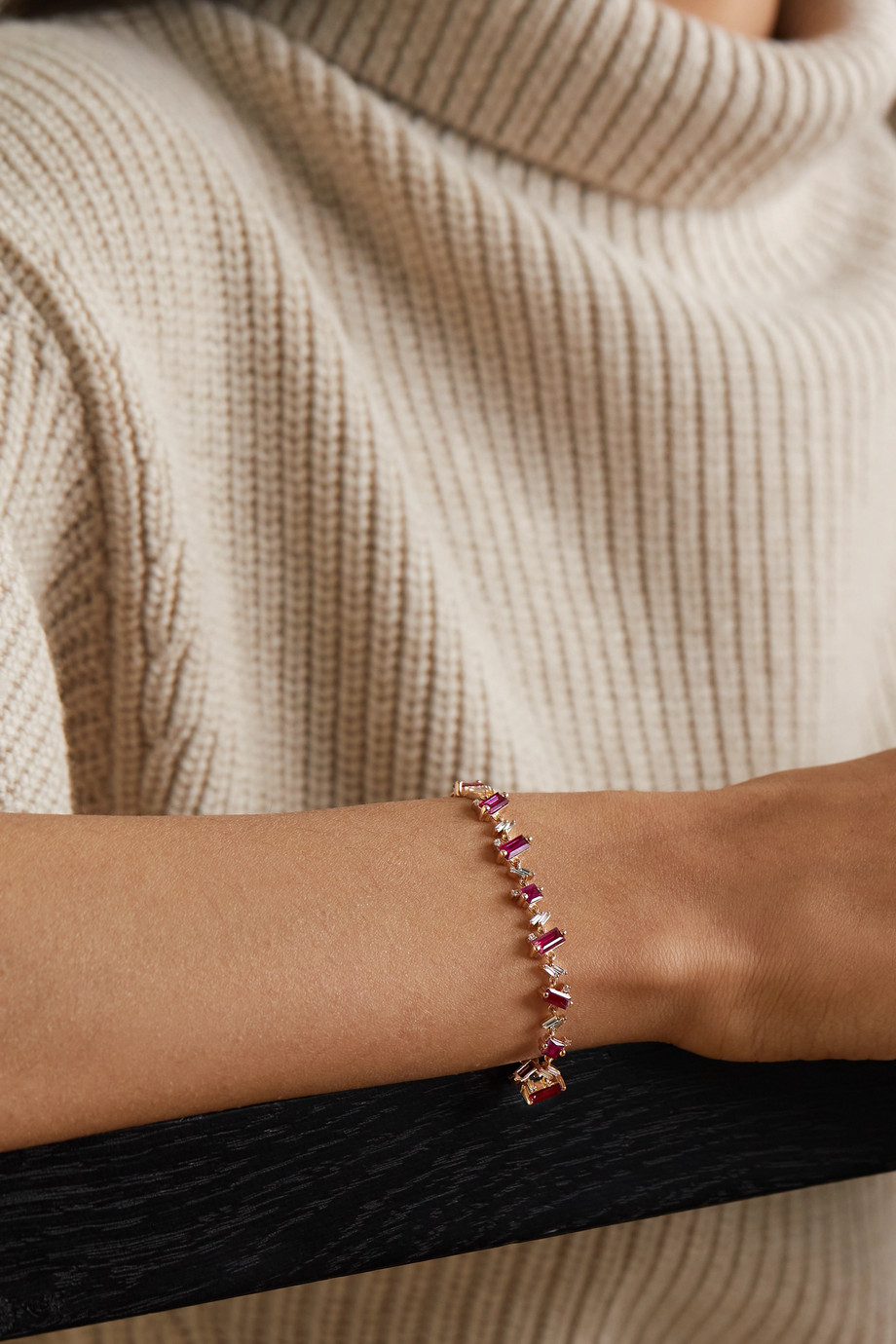Suzanne Kalan 18-karat rose gold, ruby and diamond bracelet