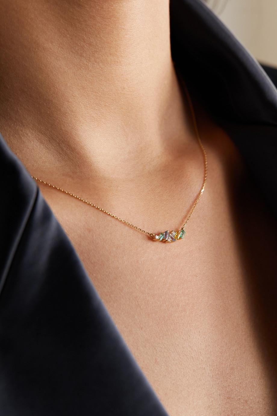 Suzanne Kalan 18-karat gold multi-stone necklace