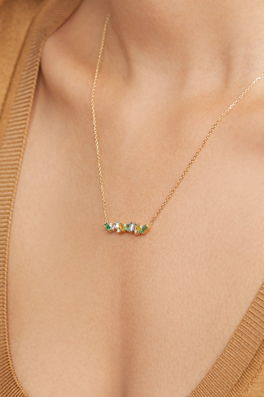 Suzanne Kalan 18-karat gold multi-stone necklace