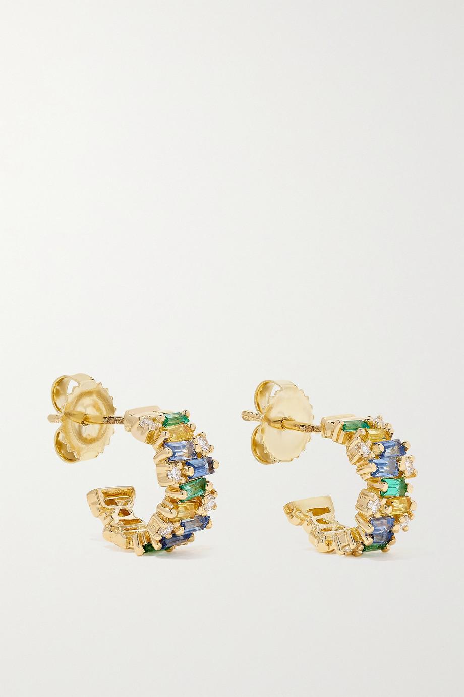 Suzanne Kalan 18-karat gold sapphire, emerald and diamond hoop earrings