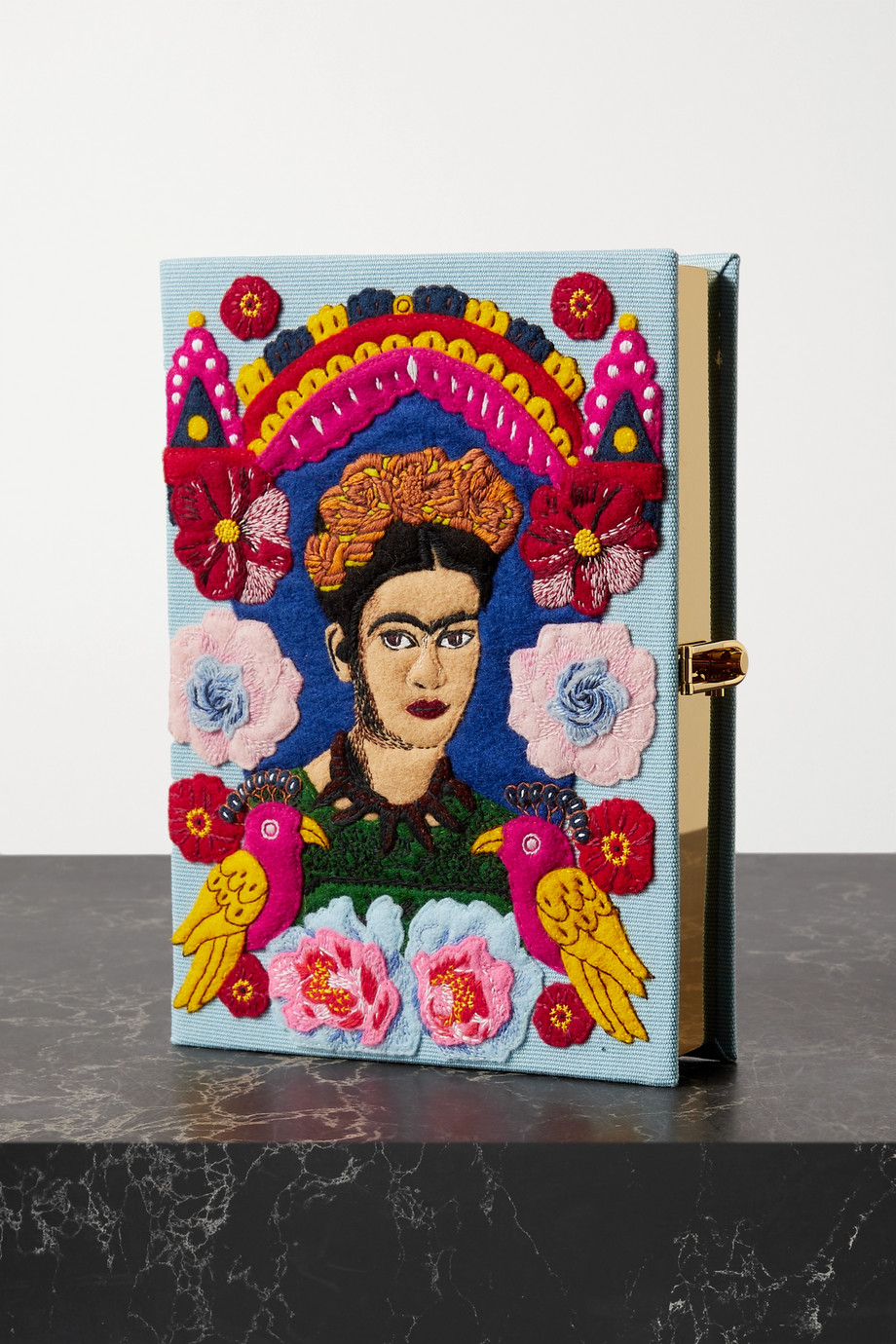 Olympia Le-Tan Frida embroidered appliquéd canvas clutch