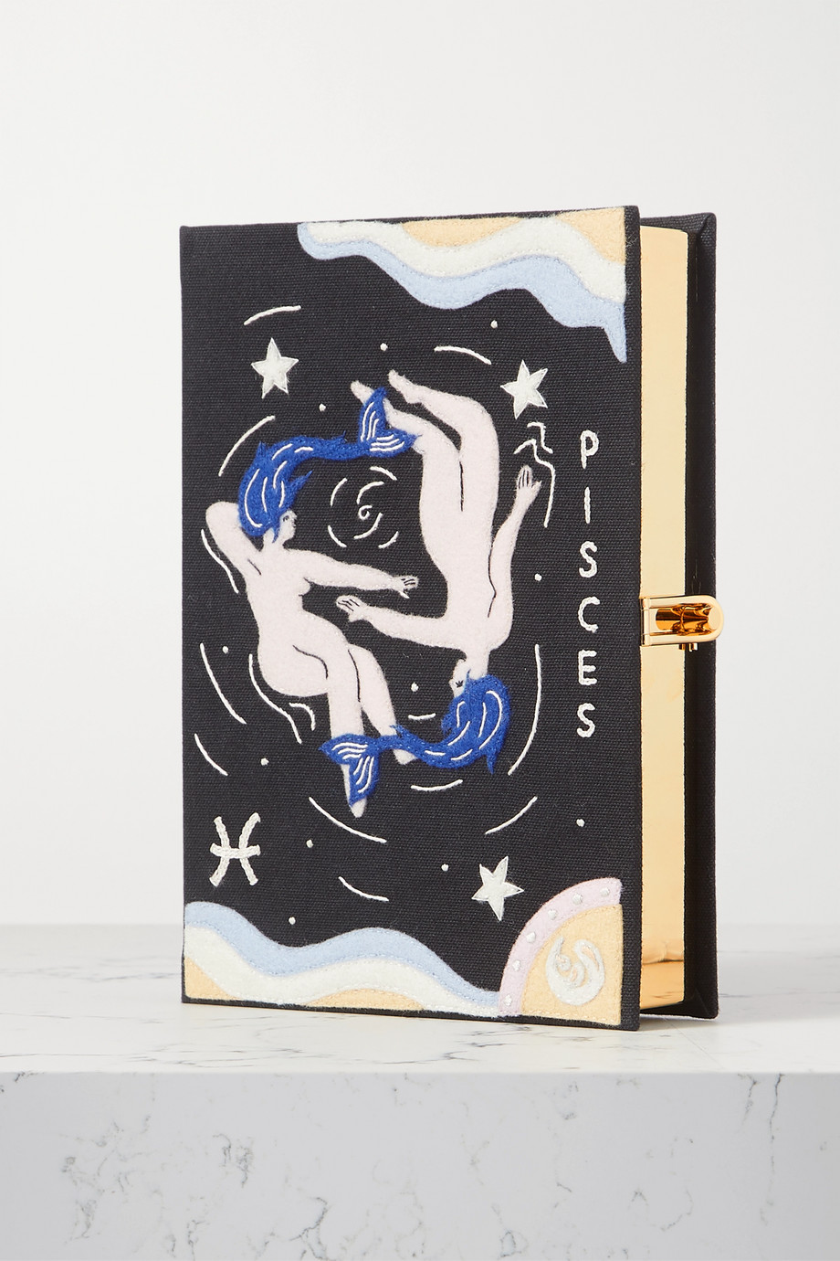 Olympia Le-Tan Zodiac embroidered appliquéd canvas clutch