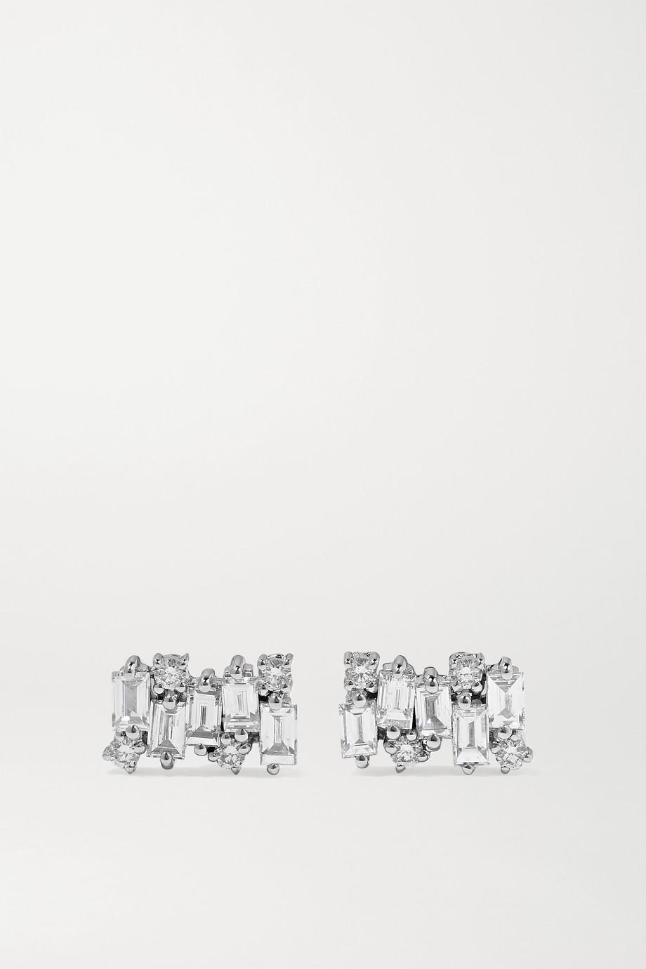 Suzanne Kalan Shimmer 18-karat white gold diamond earrings
