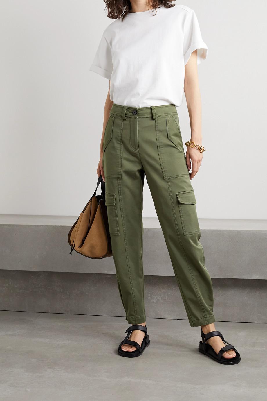 Derek Lam 10 Crosby Elian cropped cotton-blend twill tapered cargo pants