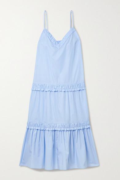 Derek Lam 10 Crosby Midi dresses ODILE SHIRRED TIERED COTTON-POPLIN MIDI DRESS
