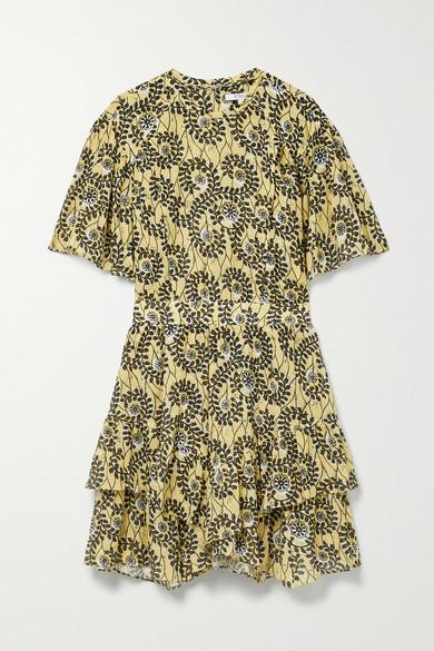 Derek Lam 10 Crosby Mini dresses LAYNE RUFFLED PRINTED COTTON-VOILE MINI DRESS