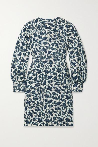 Derek Lam 10 Crosby Dresses KASHA FLORAL-PRINT COTTON-BLEND TWILL MINI DRESS