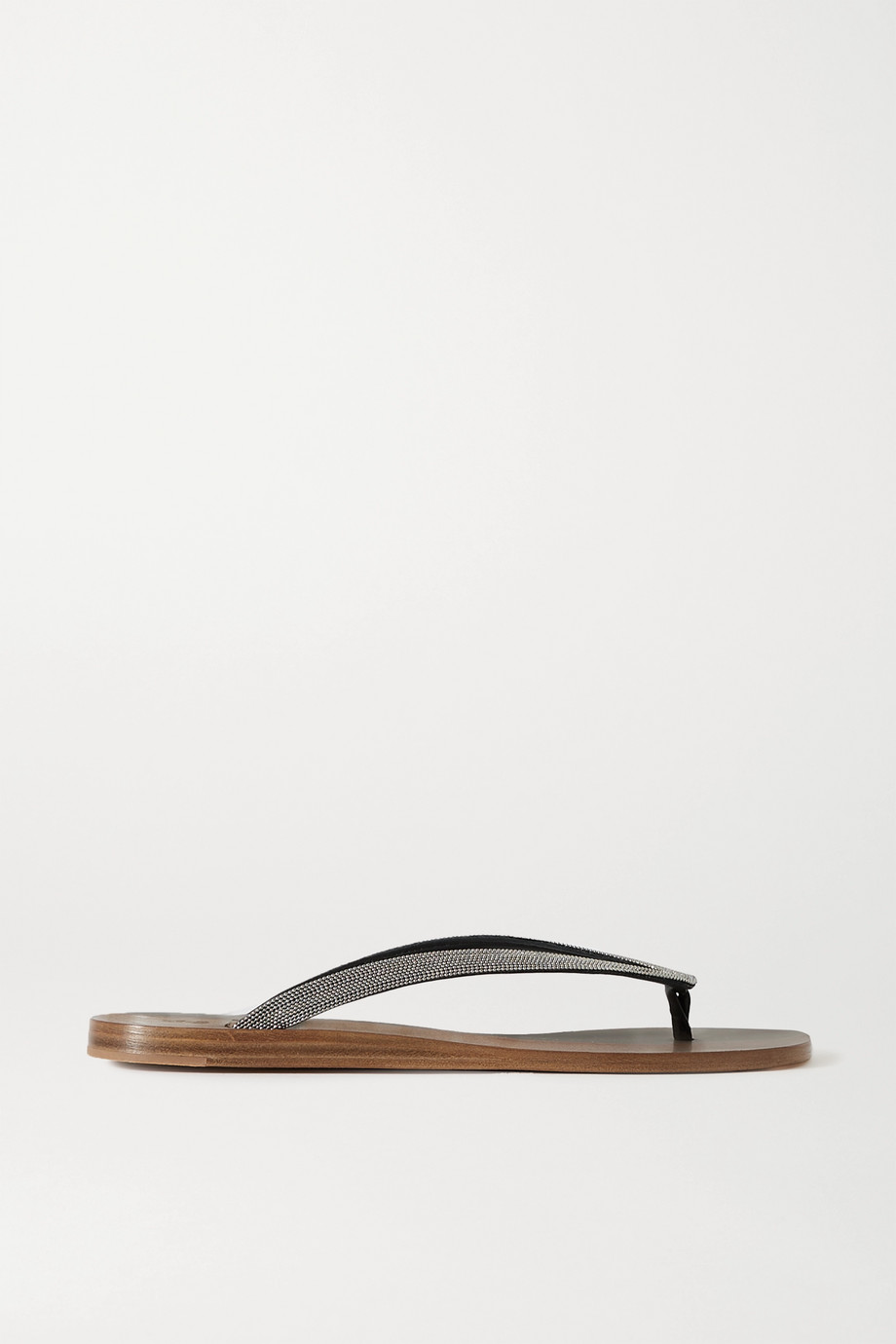 Brunello Cucinelli Beaded leather flip flops