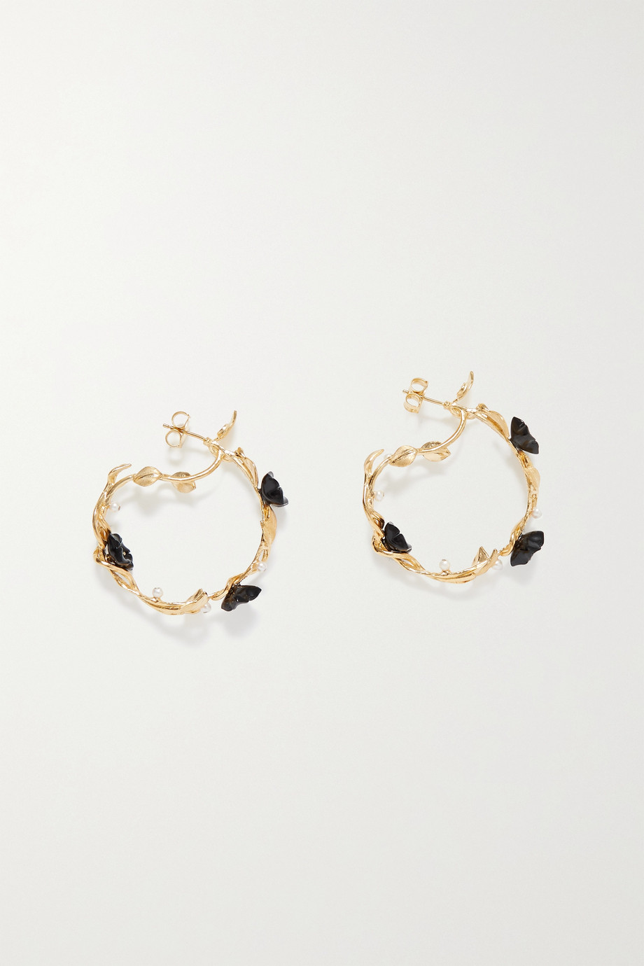 Of Rare Origin Mini Flower Whirl gold vermeil, onyx and pearl earrings