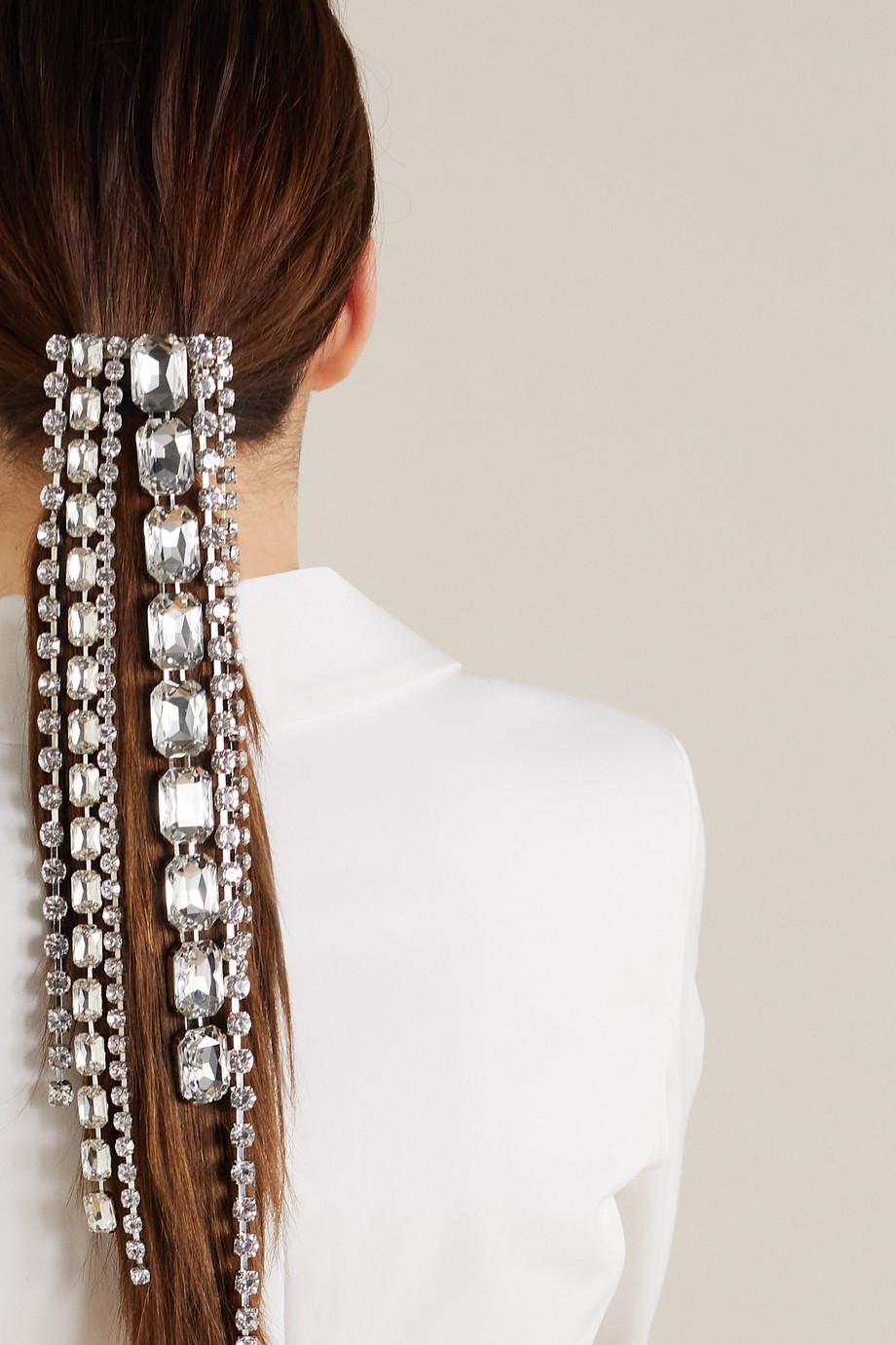 AREA Silberfarbene Haarspange mit Kristallen