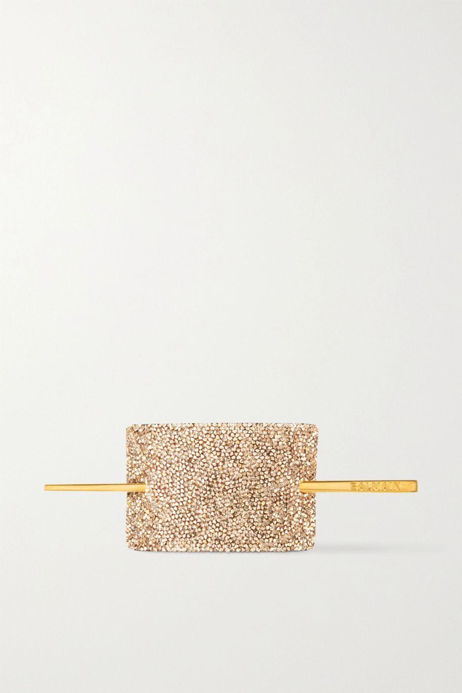 Balmain Paris Hair Couture Haarspange aus Leder mit Kristallen und goldfarbenem Detail