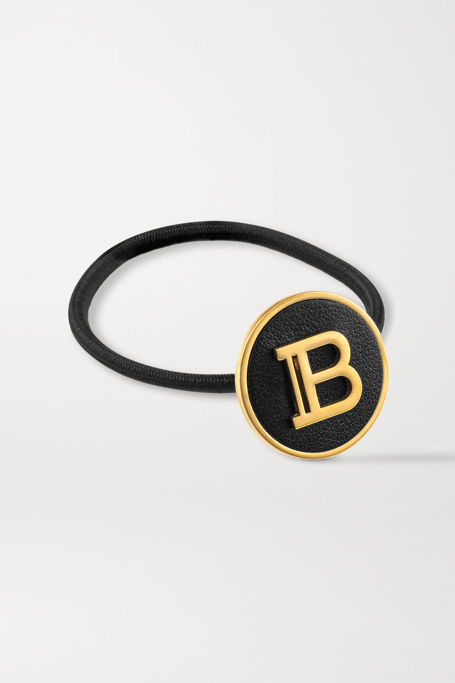 Balmain Paris Hair Couture Gold-plated and leather hair tie
