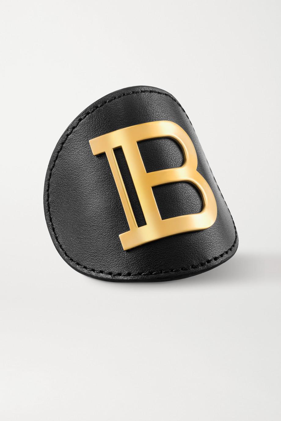 Balmain Paris Hair Couture Leather and gold-plated hair clip