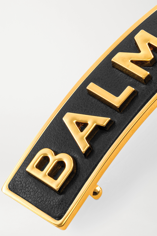 Balmain Paris Hair Couture Gold-plated and leather hair clip