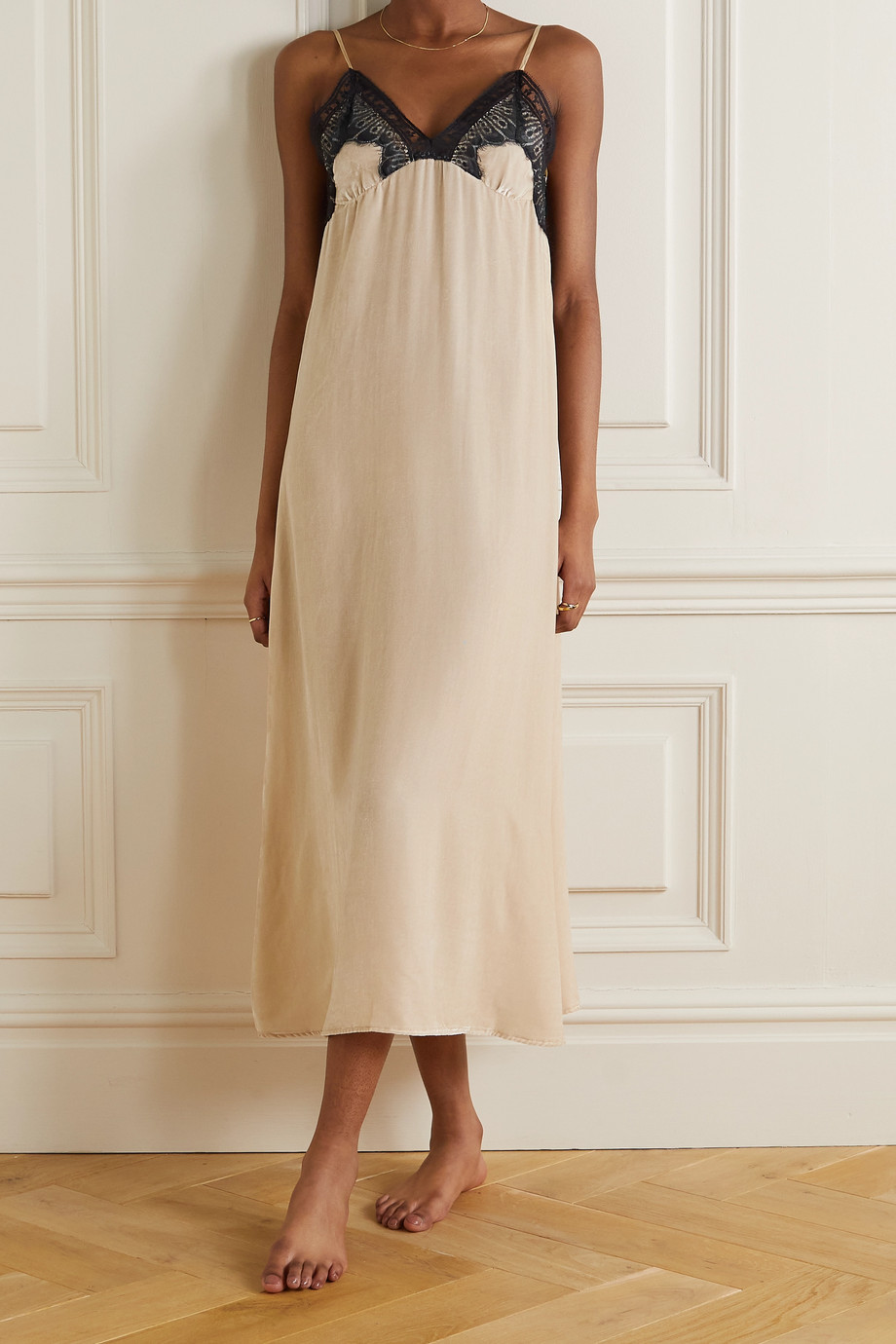 Sleeping with Jacques Freya open-back lace-trimmed velvet midi dress
