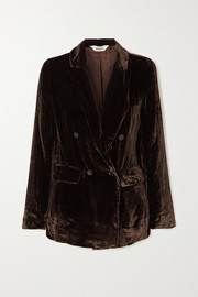 Sleeping with Jacques Jane Bond double-breasted crushed-velvet blazer