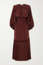 Sleeping with Jacques Bella Osiris lace-trimmed shirred silk crepe de chine maxi dress