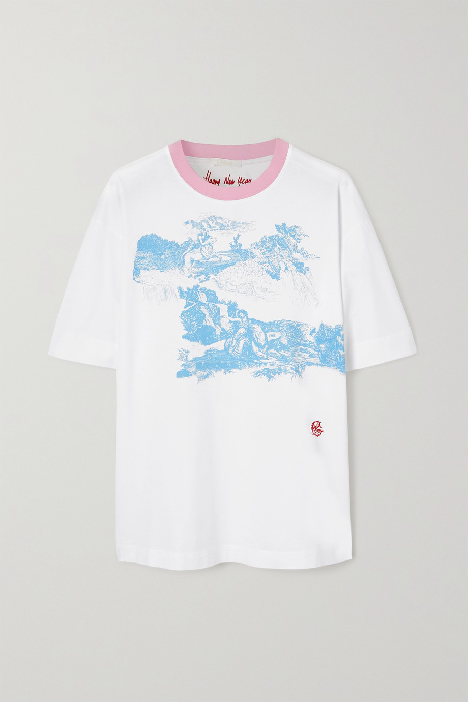 Chloé Oversized embroidered printed organic cotton-jersey T-shirt