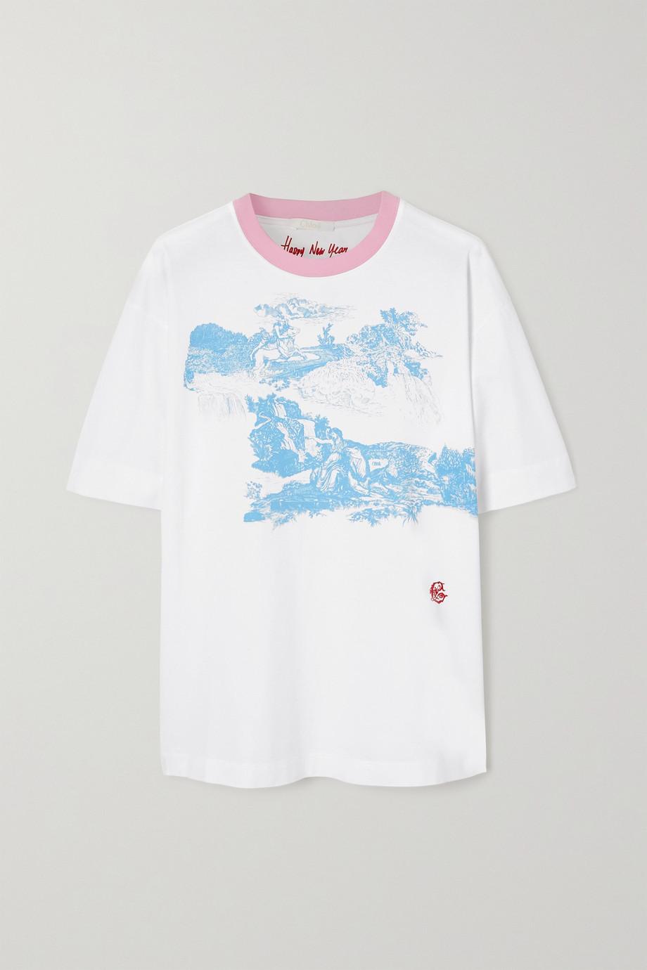 Chloé Oversized-T-Shirt aus Biobaumwoll-Jersey mit Print und Stickerei