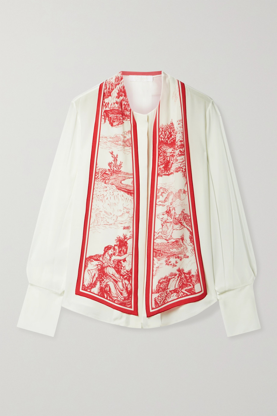 Chloé Printed tie-neck silk crepe de chine blouse