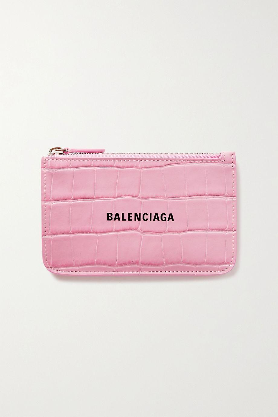 Balenciaga Portefeuille en cuir effet croco imprimé Cash