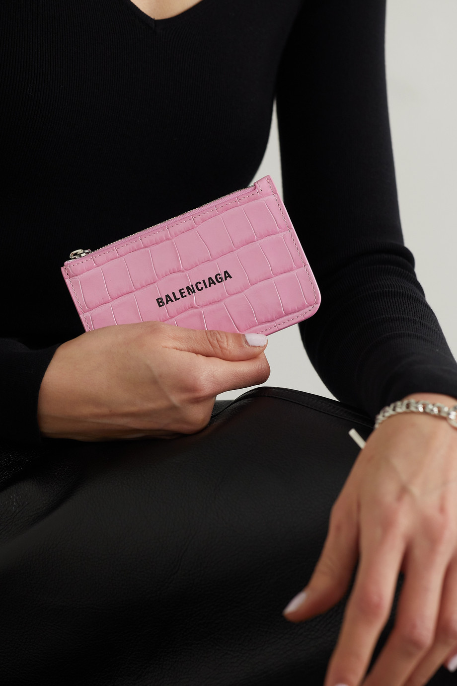 Balenciaga Cash printed croc-effect leather wallet