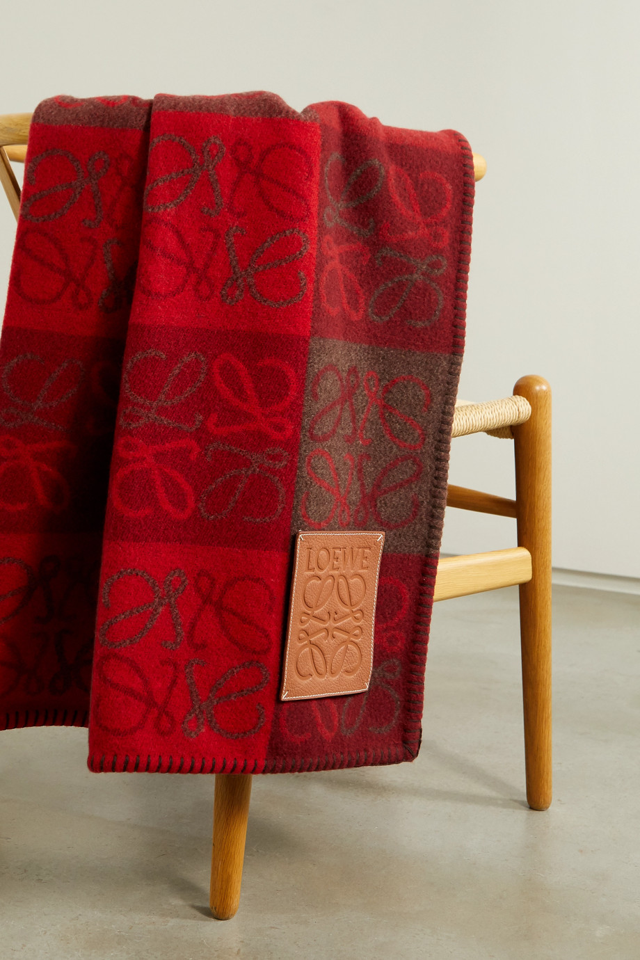 Loewe Leather-trimmed intarsia wool and cashmere-blend blanket