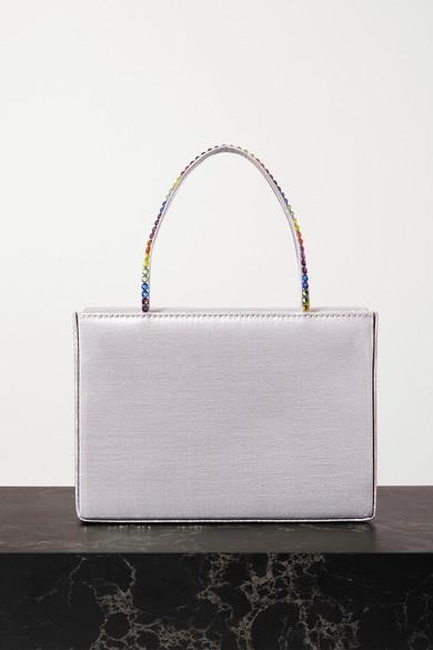 Amina Muaddi Handbags GILDA MINI CRYSTAL-EMBELLISHED METALLIC SATIN TOTE