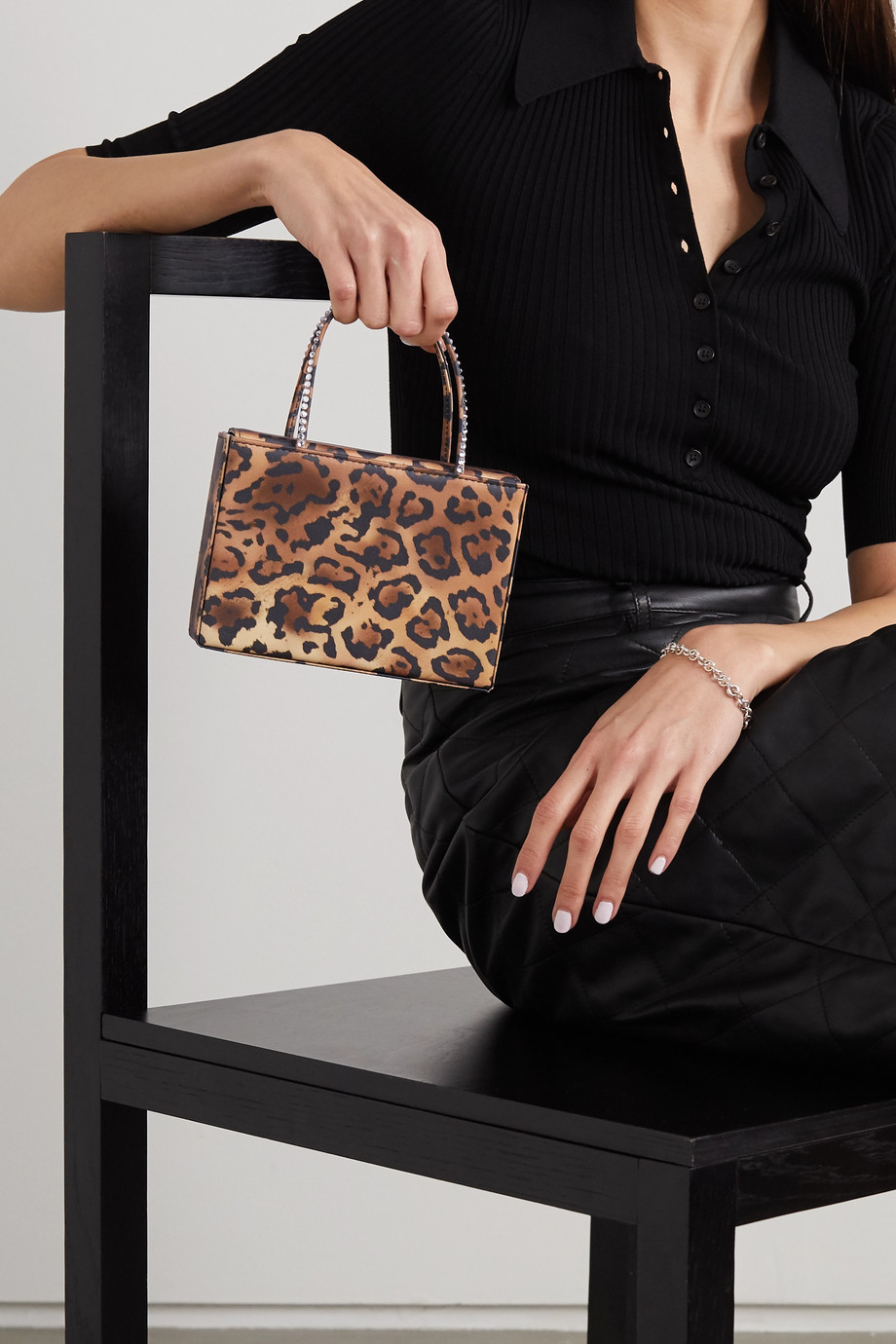 Amina Muaddi Gilda mini crystal-embellished leopard-print satin tote