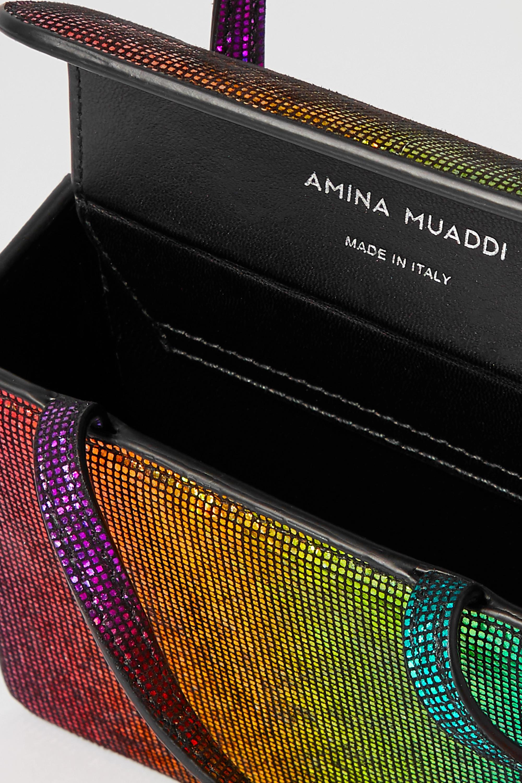 Amina Muaddi Gilda super mini crystal-embellished lamé tote