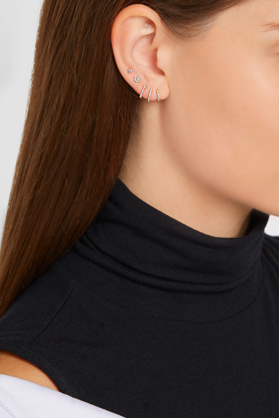 MARIA TASH 5mm 18-karat gold diamond hoop earring
