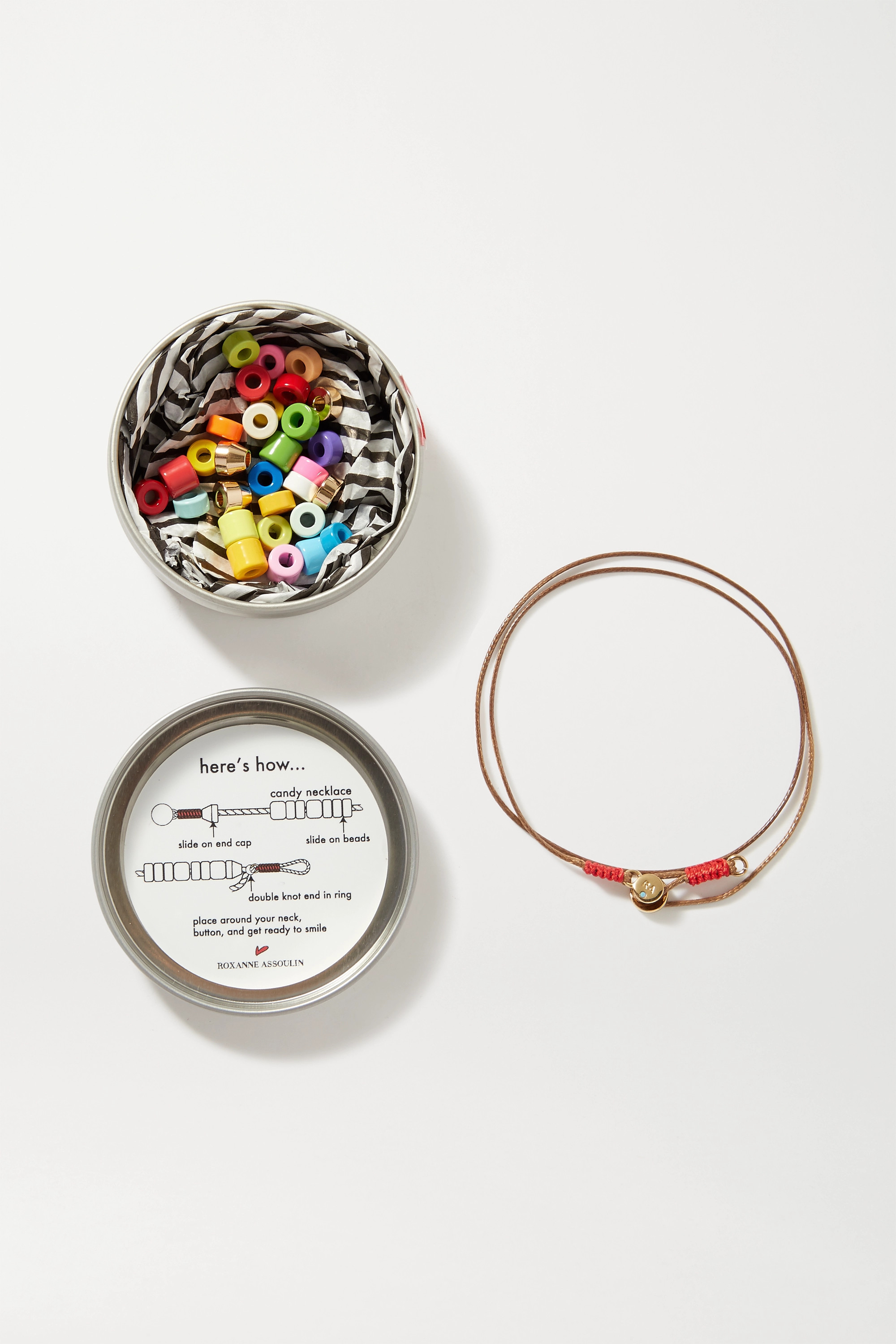 Roxanne Assoulin Candy DIY cord, enamel and gold-tone bracelet kit