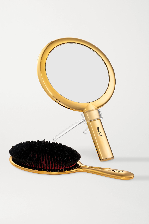 Balmain Paris Hair Couture Gold-plated Spa Brush & Hand Mirror Set – Goldfarbenes Set aus Haarbürste und Handspiegel