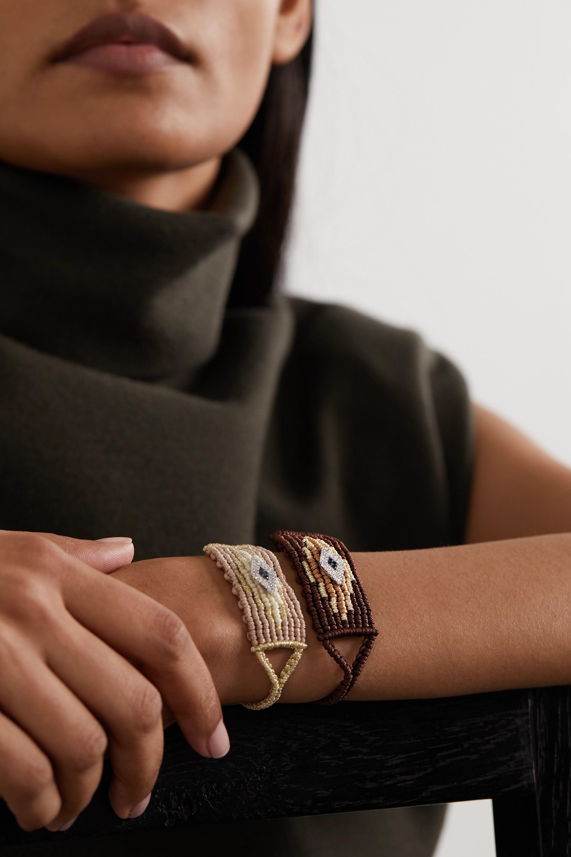 Diane Kordas Bracelet en corde tressée, or blanc 14 carats (585/1000), diamants et saphirs Evil Eye
