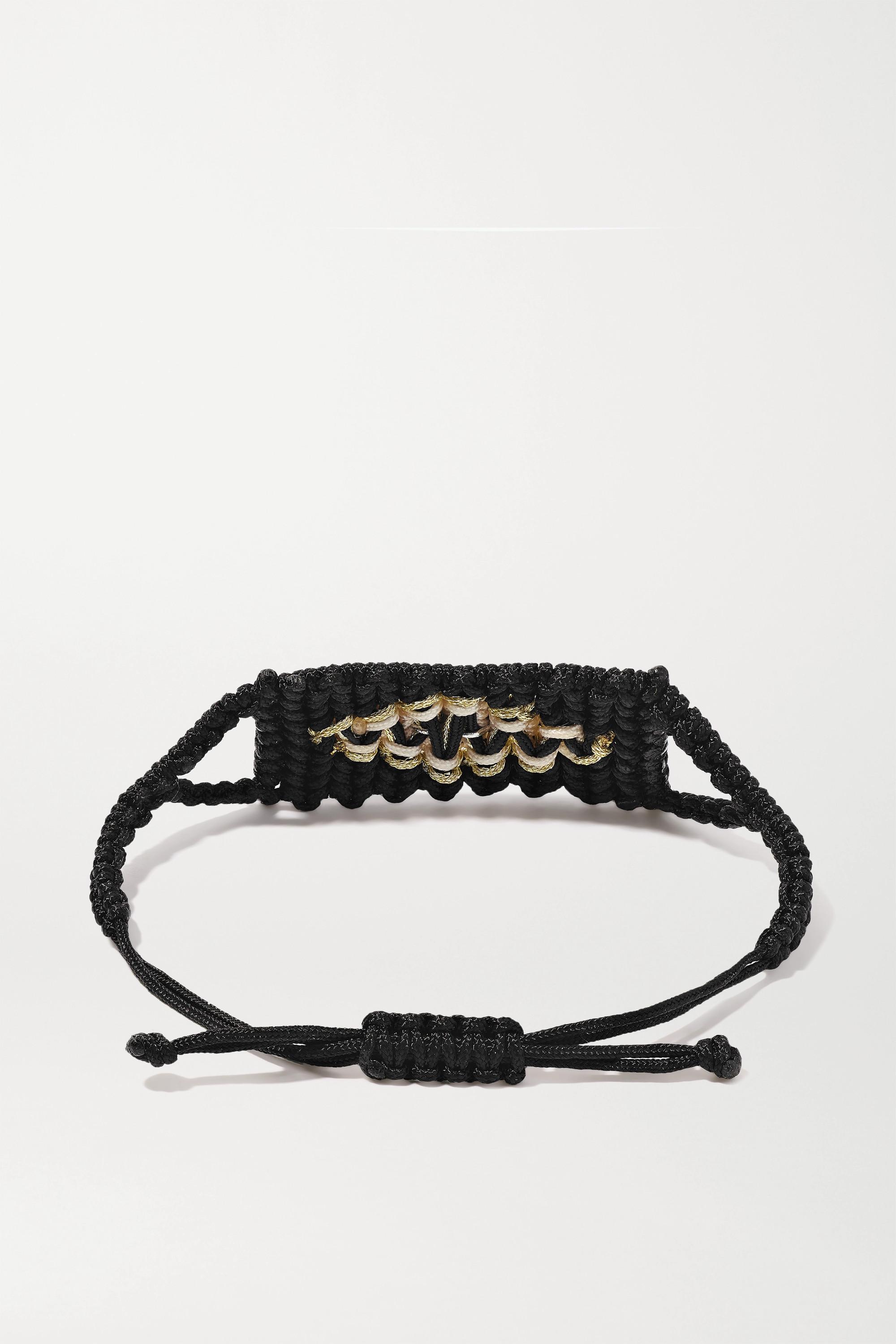 Diane Kordas Bracelet en corde tressée, diamants et saphirs Evil Eye