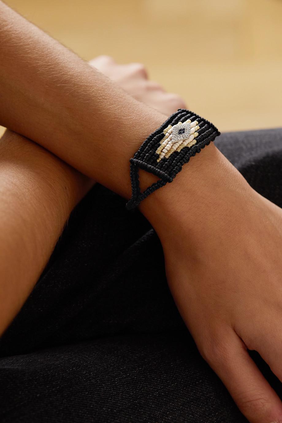 Diane Kordas Evil Eye woven cord, diamond and sapphire bracelet