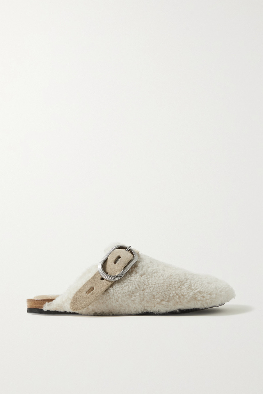 rag & bone Ansley buckled suede-trimmed shearling slippers
